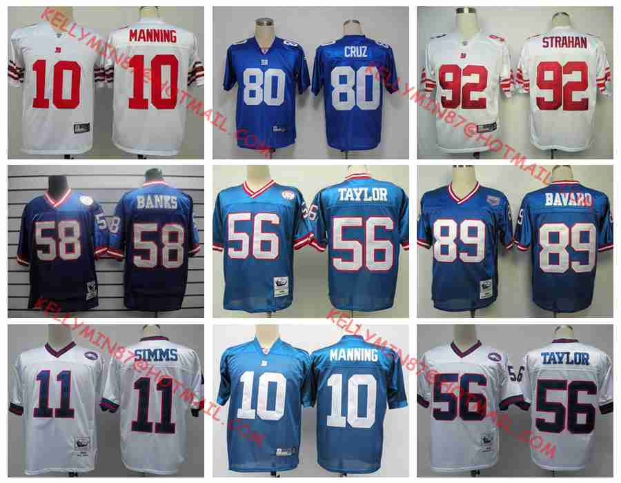 137733c5d Stitiched,New York Giants,Eli Manning,Strahan,Phil Simms,Harry Carson ...