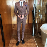 FOLOBE Men Suits 2018 New Vintage Classic Pink Coffee Grey Suits tuxedo groom Masculino Banquet Wedding Prom Suit 3pcs