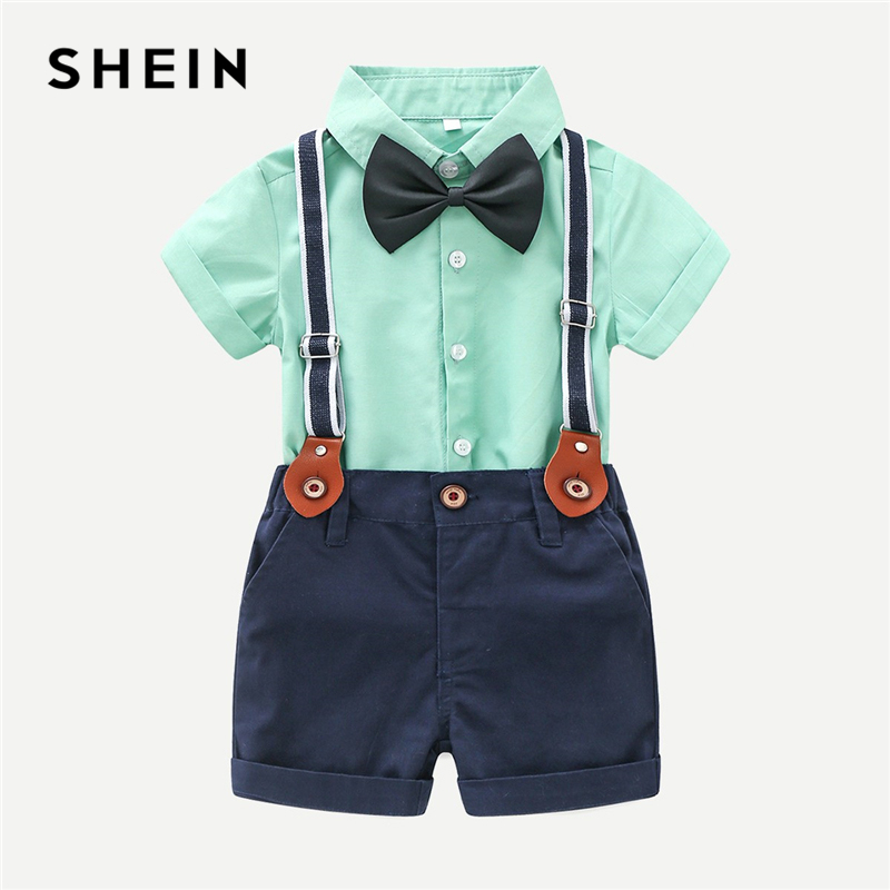 SHEIN Kiddie Toddler Boys Bow Tie Shirt With Shorts Formal Outfits Children Suit 2019 Summer Short Sleeve Preppy Two Piece Set generic little boys 2 piece set of short sleeve t shirt and plaid shorts gray red