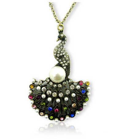 Unikalne w stylu Vintage symulowane Pearl pełne Rhinestone kryształ Retro srebrny złoty paw sektora ogon wisiorek naszyjnik N2279
