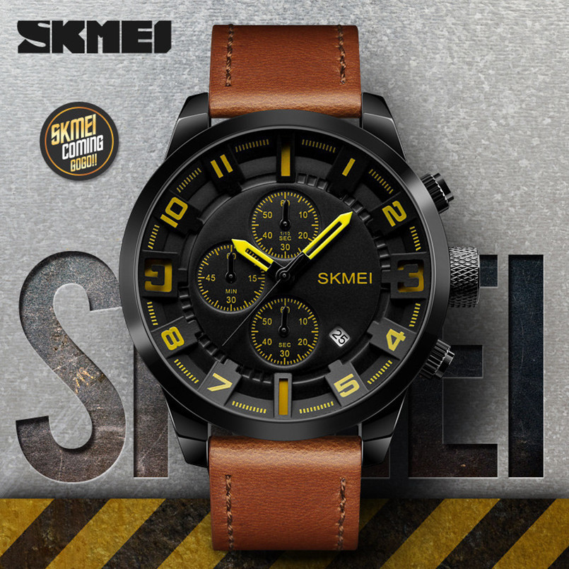 New 2018 SKMEI Alloy Big Dial Luxury Brand Fashion Business Quartz Watch Men Sport Watches Waterproof Leather Men WristWatch 1PC