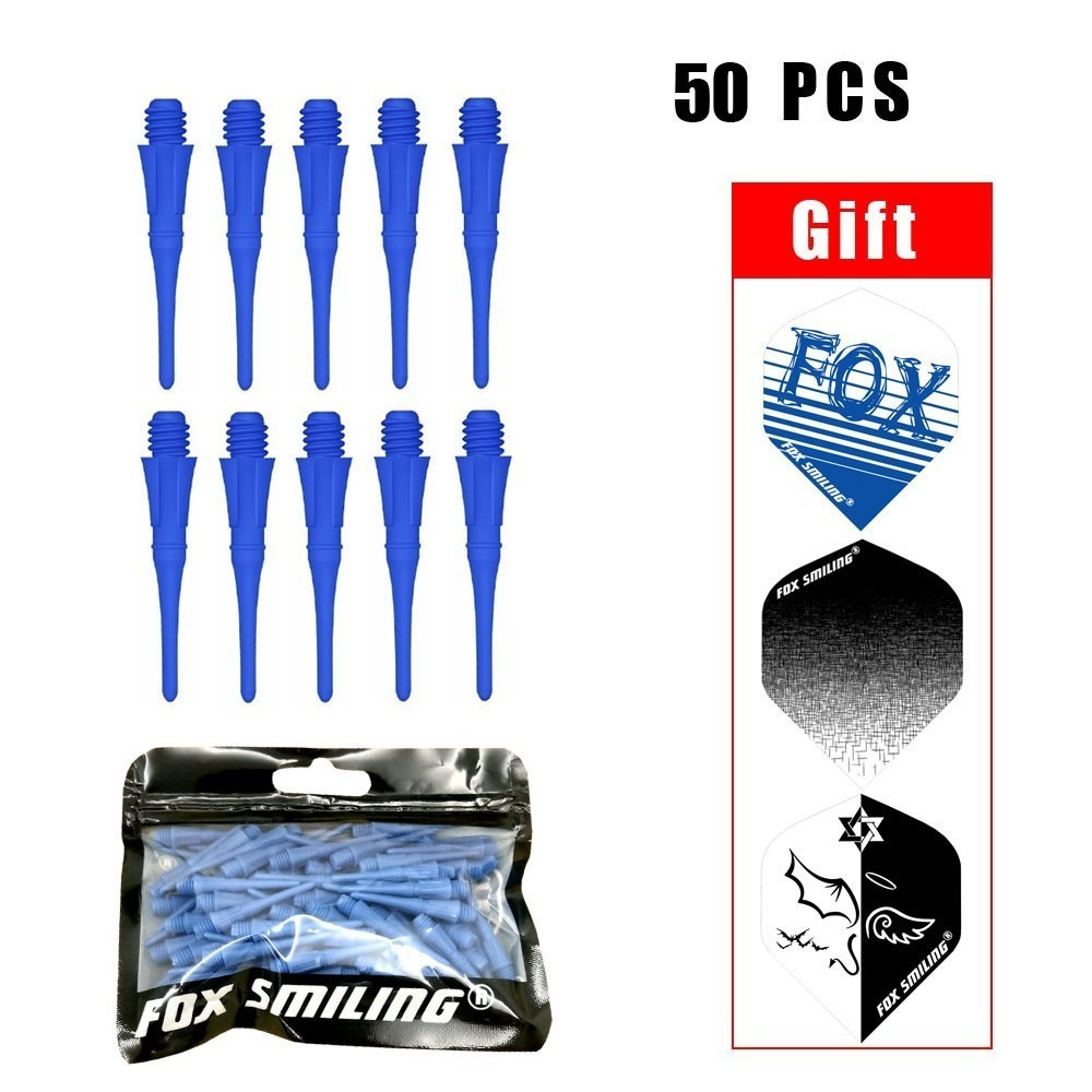 Fox Smiling 50pcs 25mm Blue 2BA Professional Dart Soft Tip For Electronic Dardos Tip