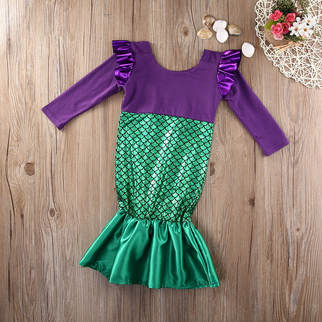 2017 Baby Girl Dress Child Little Mermaid Trumpet Long Sleeve ...