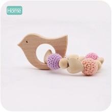 MamimamiHome Baby Wooden Toys Fox Hedgehog Elephant Bird Crochet Beads Toys For Children Teething Bracelet Baby Bracelet Rattle