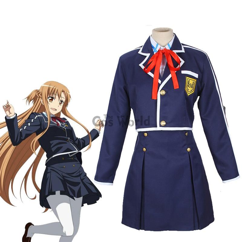 Sword Art Online SAO Yuuki Asuna School Uniform Coat Shirt Skirt Anime Outfit Cosplay Costumes