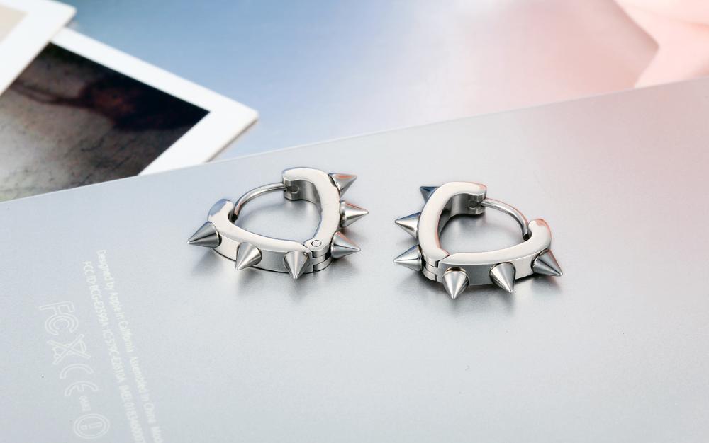 cf30c362a Mens Silver Stainless Steel Spike Circle Heart Huggie Hoop Earrings Punk  Cool earrings for men boys Gifts pendientes aros plata-in Hoop Earrings  from ...