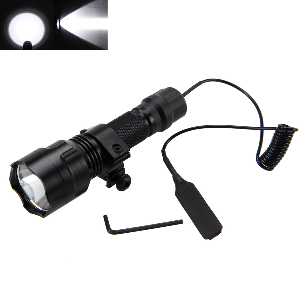 Waterproof 2500lm XML T6 LED Tactical Flashlight Lamp Torch Rifle Mount Hunting Light+Pressure Switch+Mount