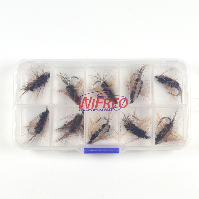 10PCS #6 Black Body Woolly Worm Brown Caddis Nymph Fly Deer Hair Beetle Trout Fly Fishing fly Bait 4