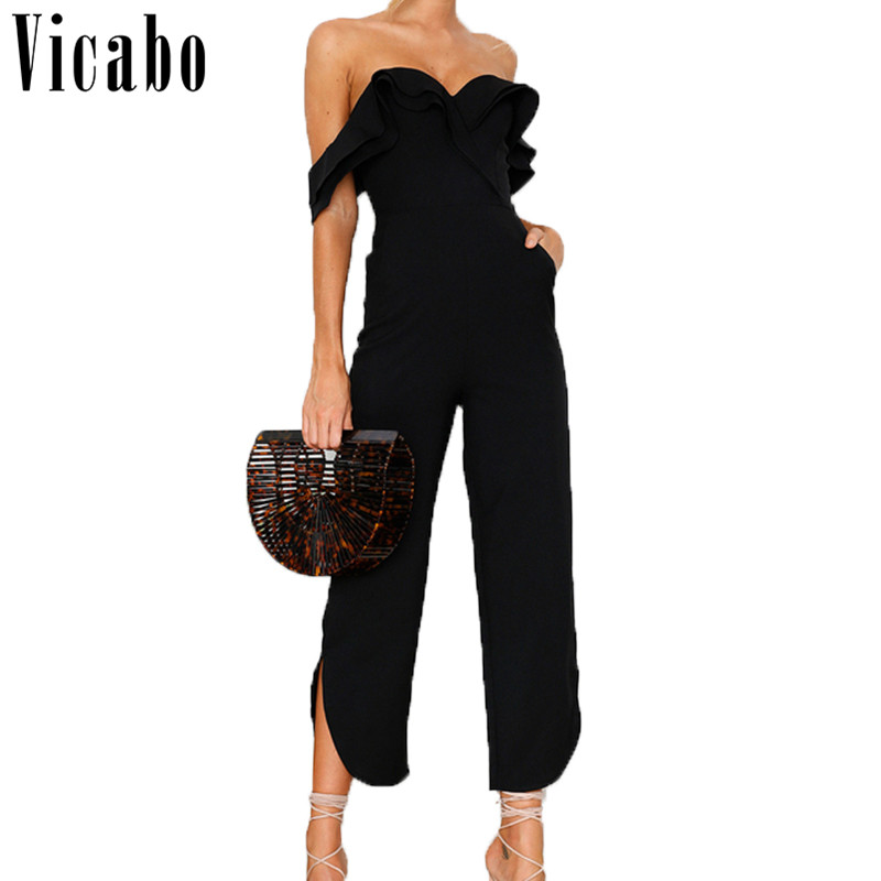 Vicabo 2018 Sexy Off Shoulder Backless High Waist Jumpsuit Ruffle Wide Leg Long Pants Black White V-neck Romper Overall Femme