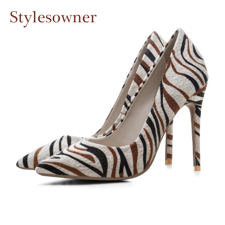 Stylewowner 2018 spring autumn slip on high heel stripe pumps sexy pointed toe 12cm stiletto heels fashion shoes for women party womens shoes high heel woman pumps spring autumn basic silk slip on pointed toe thin heels sexy wedding shoes ljx04 q