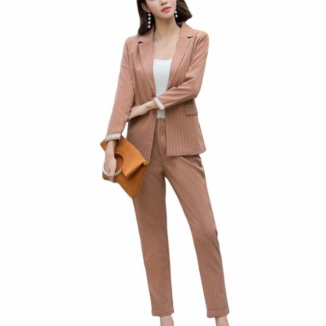 5aa041af1 Trajes de pantalón de moda 2018 conjuntos de 2 unidades chaqueta a rayas para  mujer y