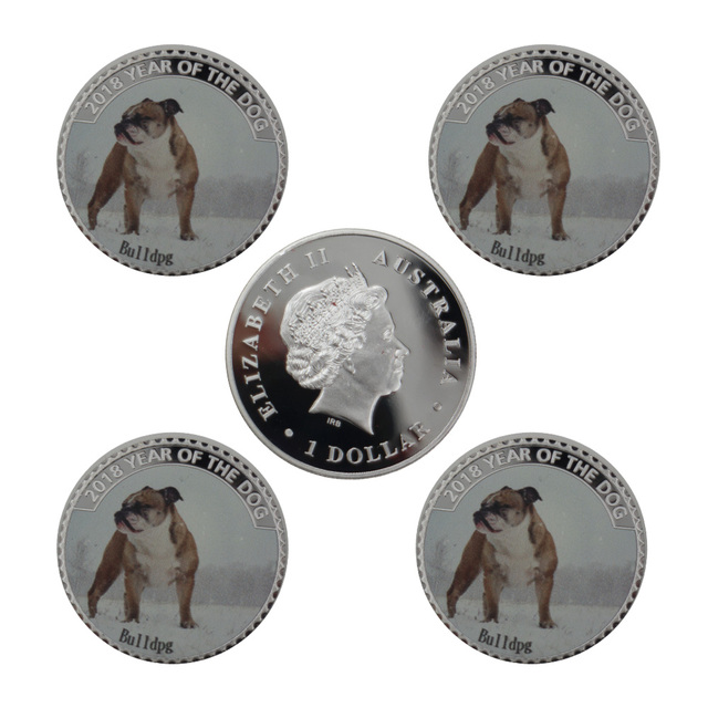 Cute Animal Silver Coin Year of The Dog 999.9 Silver Plated Metal Coin 8pcs