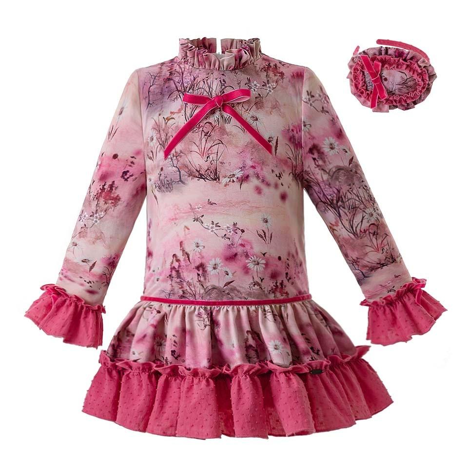 Pettigirl ヴィンテージ Aumtum と冬フラワー女服長袖のドレスと帽子 G DMGD106 B341  グループ上の ママ & キッズ からの ドレス の中 1