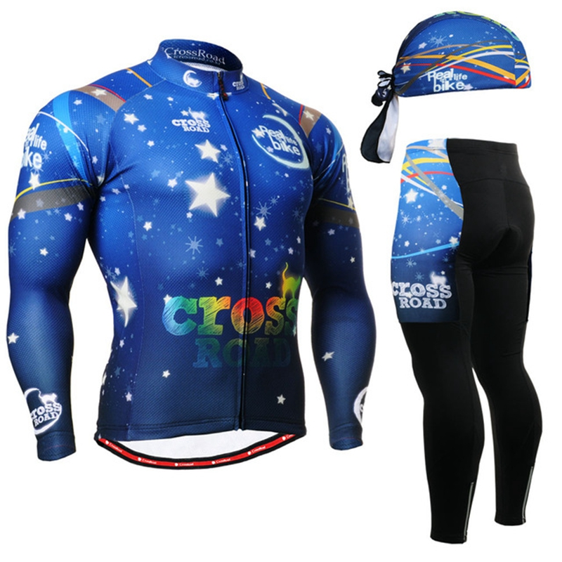 Quality mens Cycling Suits Long sleeve Jersey & Pants blue bike clothing jacket clothes wear motocross blue