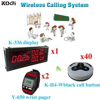 Система пейджера для заказа в гостинице, высокое качество, мощный сигнальный передатчик для ресторана (1 дисплей, 2 наручные часы, 40 кнопок вы...