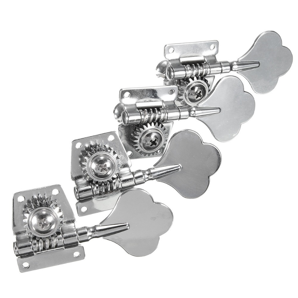 4PCS Set Machine Heads Silver Tuning Pegs Tuner For Bass Guitar Replacement 8pcs 6 piece kit for grant guitar string pegs sockets screw mechanical guitar tuning pegs tuner silver