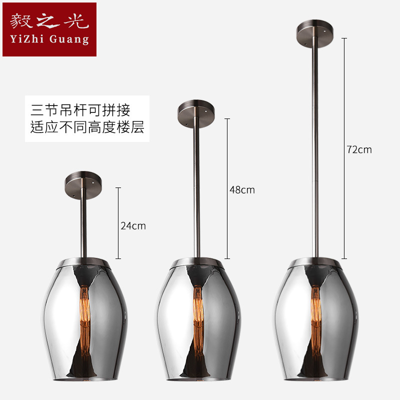 American country led chandelier iron personality single head glass chandelier bar living room restaurant Lamps lighting american iron pendant light single head bar restaurant dinner room retro fashion industrial lamps iron dining room lamps za