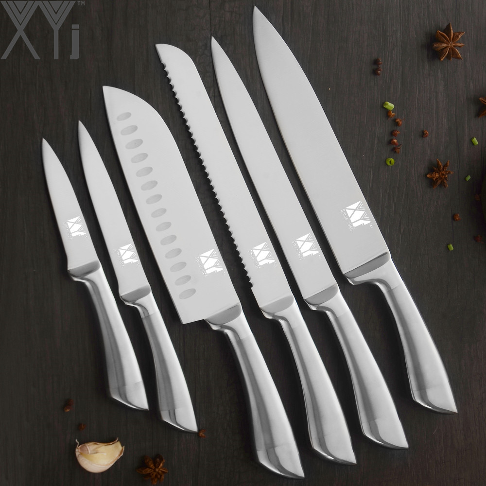XYj Kitchen Stainless Steel Knife Set 6 Piece Set Sharp Blade Non-slip Blade Chef Bread Slicing Santoku Utility Paring Knives