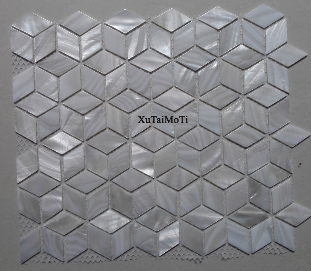 11pcs Rhombus white shell mosaic tile mother of pearl bathroom kitchen TV background wall tiles mosaic home decoration wallpaper rhombus sea shell mosaic tiles mother of pearl seamless natural shell color kitchen bathroom wall mosaics tile free shipping