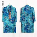 2016 Summer New Embroidery  Blue Red Solid WIth Floral Printing Women Vestidos Blusa Chiffon Shirts Dress Shirt 5XL/6XL Blouse