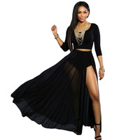 FGirl Women S Skirt Sun American Apparel Skirts Black Sheer Slit Luxe Maxi Skirt FG30471