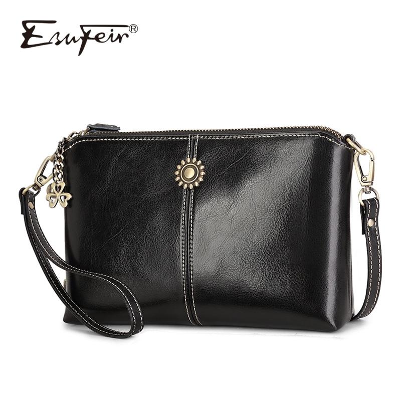 Genuine Leather Women Shoulder Bag Oil Wax Leather Crossbody Bag Luxury Small Handbag Purse Women Messenger Bag Daily Clutch