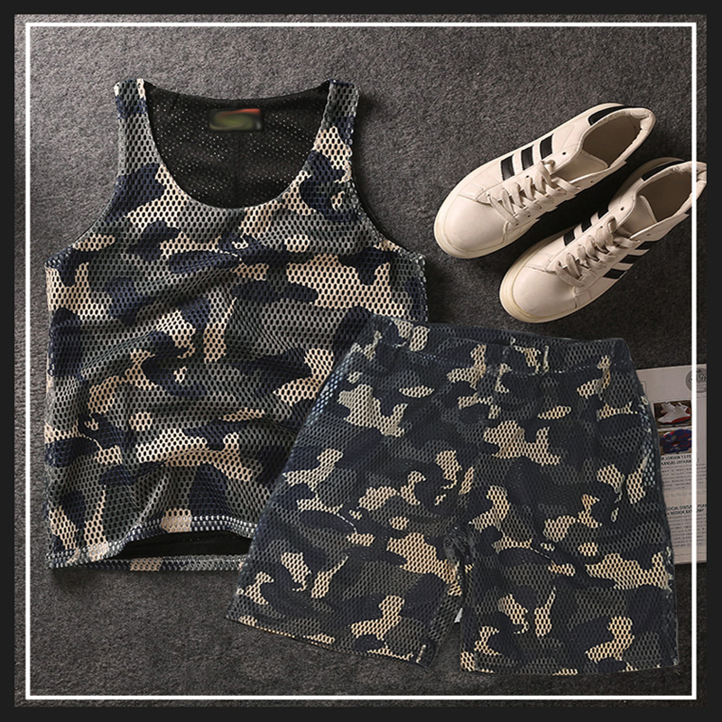Zomer Ademend Sneldrogend Camo Mesh Vesten Mannen Camouflage Mouwloze Plus Size 5XL 6XL 7XL 8XL tank en korte-in Setjes voor Mannen van Mannenkleding op  Groep 1