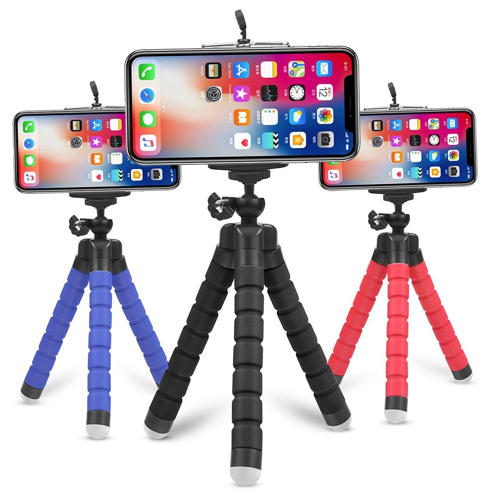 Mini Flessibile Polpo Spugna Treppiede per il iPhone Samsung Xiaomi Huawei Mobile Del Telefono Smartphone Treppiede per Gopro 7 6 5 Macchina Fotografica