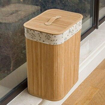Cesta De Almacenamiento De Bambú Plegable Económica Caja Grande De Almacenamiento De Lavandería Con Tapa Y Encaje Extraíble Ds99