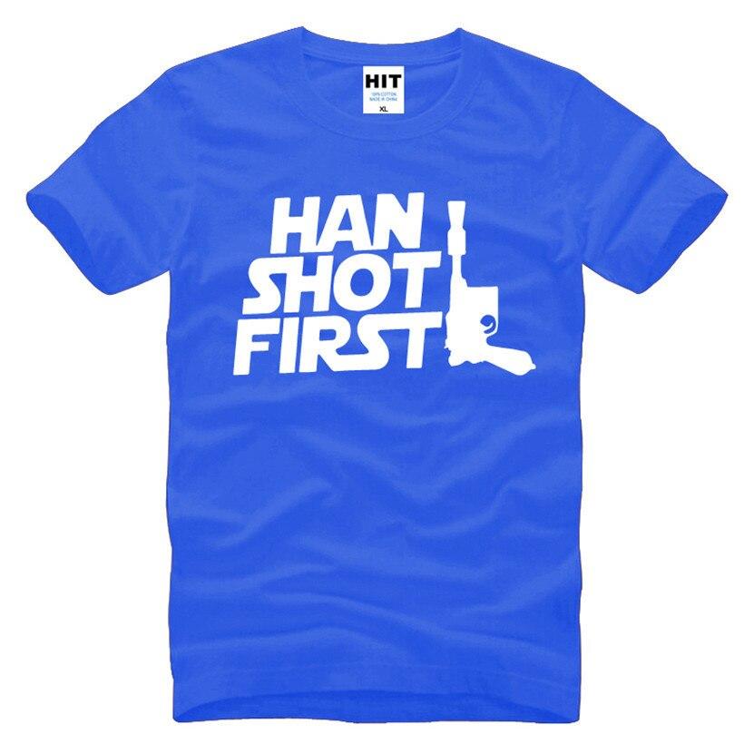 Фильм Звездные войны Хан выстрелил впервые Забавный Для мужчин S Для мужчин футболка Мода 2016 г. новая хлопковая футболка с короткими рукавам...