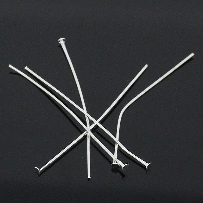 DoreenBeads 100PCs Silver Plated Head Pins 50x0.7mm(21 gauge)