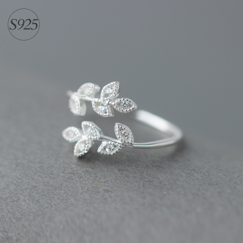 Real. 925 Sterling Silver Jewelry White CZ Paved Branch Leaf Ring Adjustable Size Openable GTLJ981