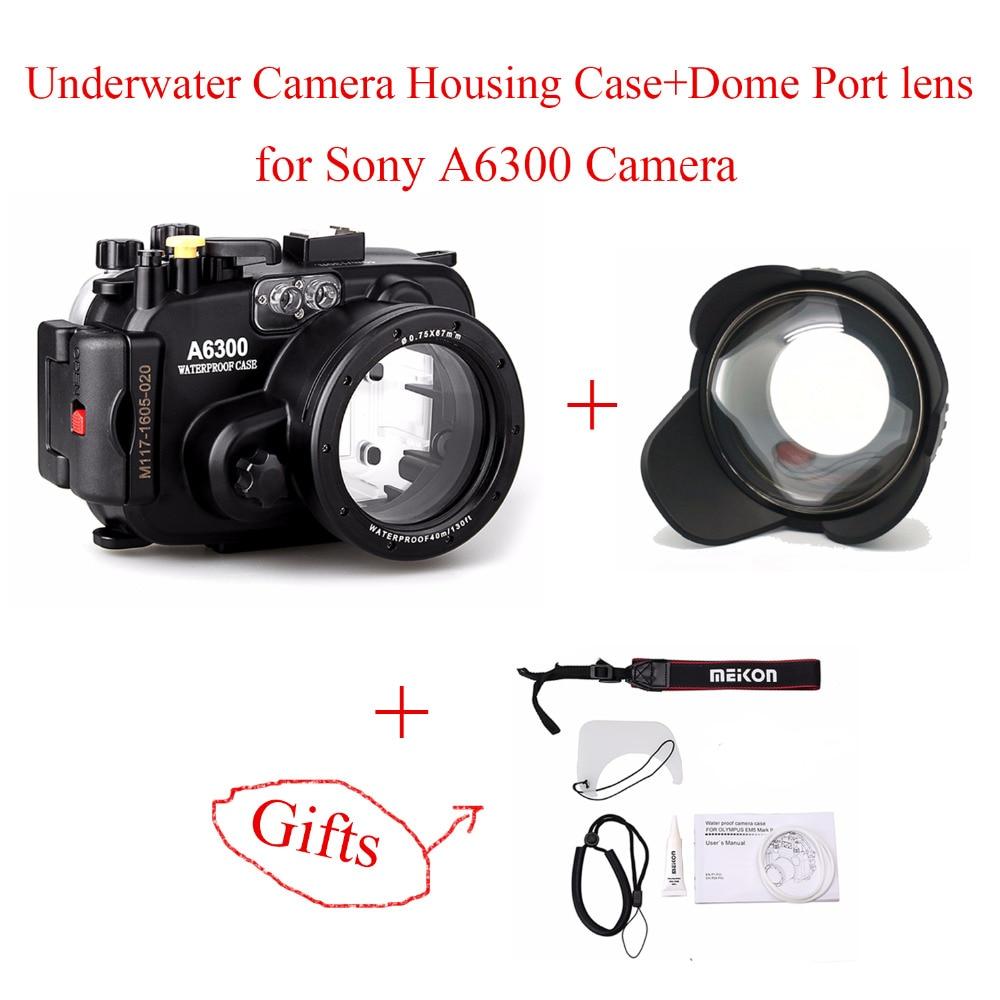 Meikon 40m/130ft Waterproof Underwater Camera Housing Case for Sony A6300,Camera Waterproof Bags Case + Dome Port lens for A6300 meikon бокс meikon для sony rx100 iii