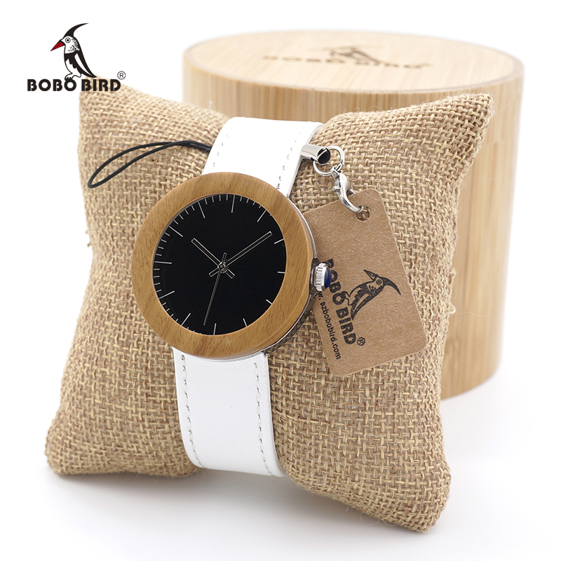 BOBO BIRD New Arrival Top Brand Design Wood Watches for Womens Leather Band Ladies Wrist Watch bobo bird k03 newest arrival nature bamboo mens watches top brand uv printing philippines flag dial watch case soft leather band