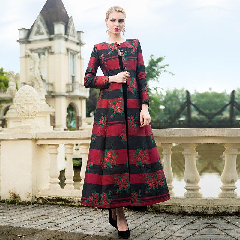 Mantel rperansicht Stickerei Kleid Herbst 2018 Mantel Ball 6959 Langen Ganzk Party Einzelnen Frauen Mode Blumen Mantel 5jL34AR