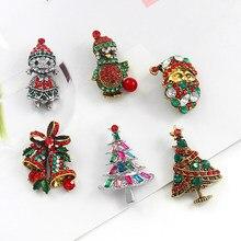 Broche de árvore de natal, retro série de pinguim de árvore de natal, papai noel decorado com diferentes cores de strass