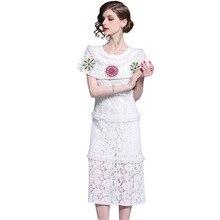 PADEGAO Womens 2019 Sexy Literary Spring Summer Round Collar Lace Embroidery Cloak Long Women Dress Elegant Goddess Temperament