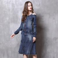 2018 осеннее платье Boho новые джинсовые платья О образным вырезом кружева подол выдалбливают Belted A Line Vestido Feminino женское платье PA82117