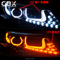 New LED Angel Eye + DRL + Width Light + Turning Light 8 PCS Custom DRL Two Colors White Yellow 12V for 2014 KIA K5 Exclusive Use