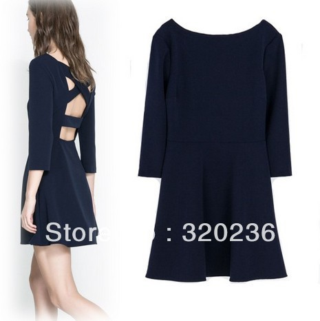 Envío gratis! mujeres se visten de 2014 chicas Sexy Back Corss diseño de la forma del partido para mujer moda para mujer vestido de noche