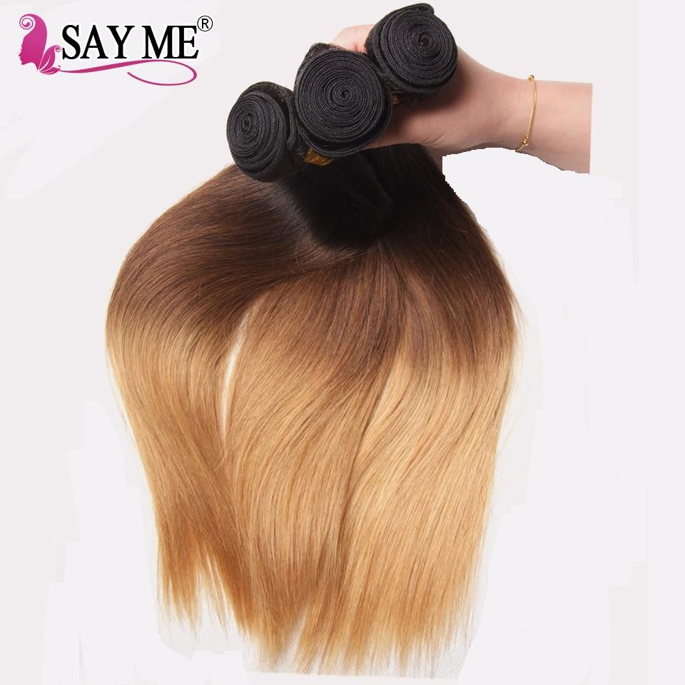 SAY ME Ombre Brazilian Straight Hair Bundles Three Tone Blonde Ombre Human Hair Weave Bundles Non