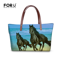 FORUDESIGNS 2017 New Women Handbags Animals Horse 3D Printing Handbags For Woman High Quality Ladies Top