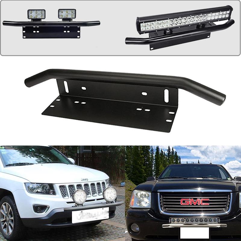 Black Chrome Mounting Brackets Bull Bar Bumper Front License Plate Mount Holder Bracket Off Road Work Light Led Bar Driving