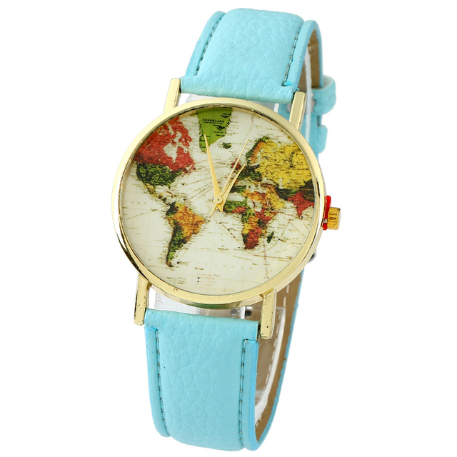 c5101bbf0c7 NOVA Cor das Mulheres Mapa Do Mundo Relógio Retro Vintage vestido Casual  Analógico relógio de pulso