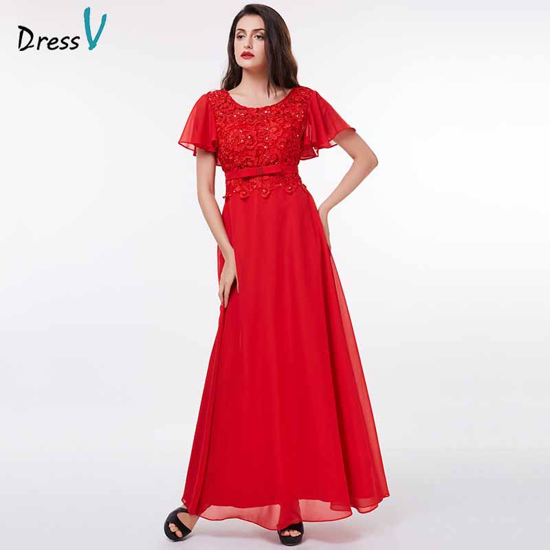 Dressv red evening dress cheap short sleeves a line sequins lace floor length wedding party formal dress evening dresses