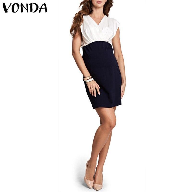VONDA Maternity Clothes 2018 Summer Women Dress Sexy V Neck Short Sleeve Pencil Mini DressPregnancy Casual Plus Size Vestidos