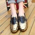 Великобритания Весна лето дышащие мокасины скольжения на натуральной кожи вождения обувь Мода причинные мокасины M917