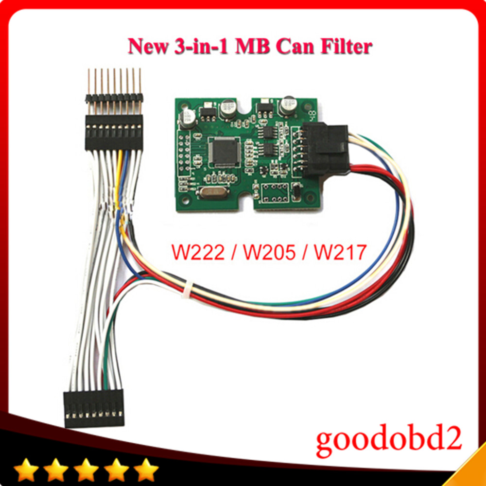 For Benz MB CAN Filter 3 in 1 for W222/W217/W205 W217 W253 W447 (New Benz S / C series) New CAN Filter MB CAN Blocker for Benz car diagnostic tool mb can filter 18 in 1 odometer adjustment for most chasis model free shipping lr10