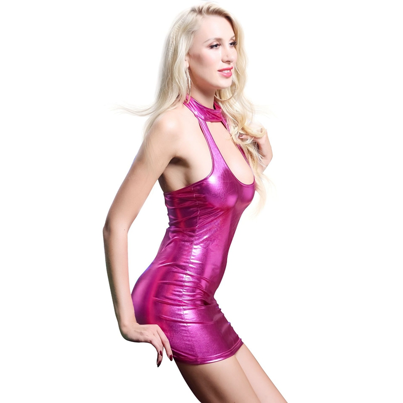 pu faux leather erotic club mini Dress Women wetlook Hot Sexy latex clubwear pvc Lingerie Catsuit shiny dress Pole fetish dress in Babydolls Chemises from Novelty Special Use