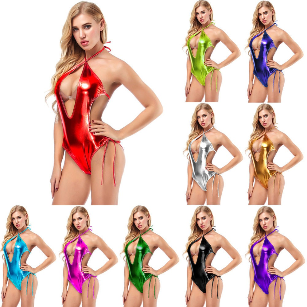 Women Shiny Metallic Deep V Halter Teddy Leotard Bodysuit Open Back Bikini Suit Catsuit Clubwear Pole Dance Wear 9 Colors
